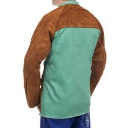 Skórzana kurtka spawalnicza z dwoiny bydlęcej z plecami z trudnopalnej bawełny Lava Brown™ WELDAS