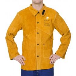 Golden Brown™ skórzana kurtka spawalnicza z dwoiny bydlęcej z plecami z trudnopalnej bawełny, WELDAS